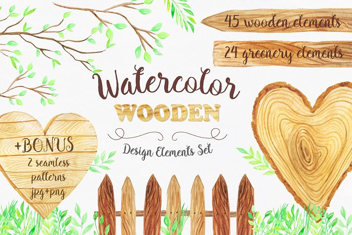 Watercolor Wooden Design Set