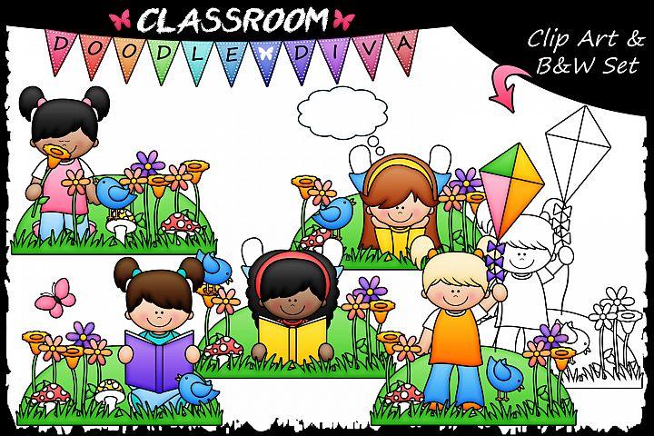 Spring Girls - Classroom Doodle Diva Clip Art & B&W Set