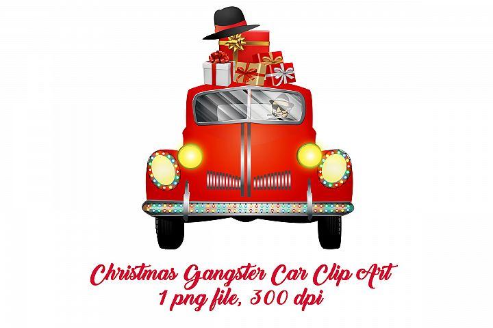 Christmas Gangster Car Clip Art