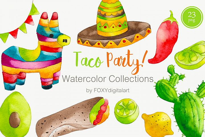 Watercolor Taco Party Mexican Food Clipart