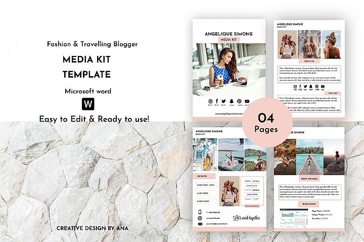 Media Kit Template | Blogger Media Kit | MS Word Template