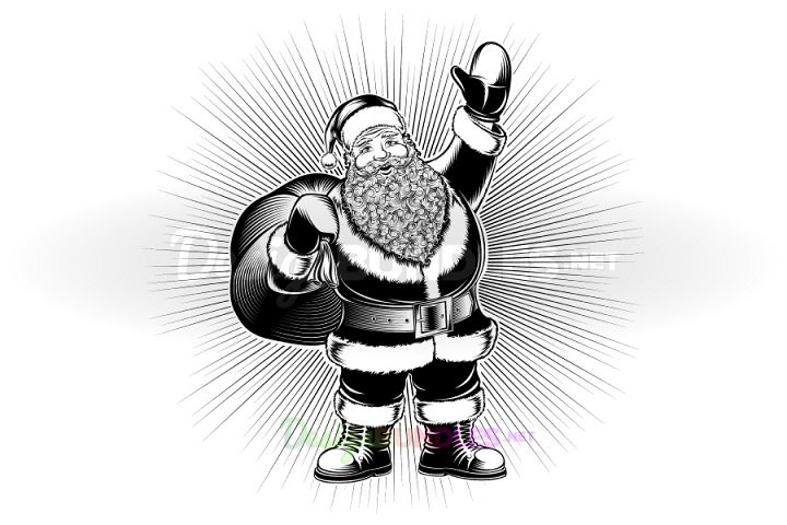 Vector Santa Claus Cartoon Character Retro Ink Drawing Pop Art Monochrome