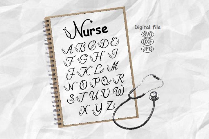 Nurse Font Svg, Stethoscope Svg, Nurse Alphabet Svg