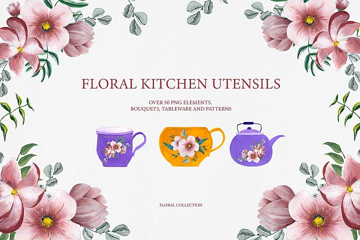 Floral Kitchen Utensils