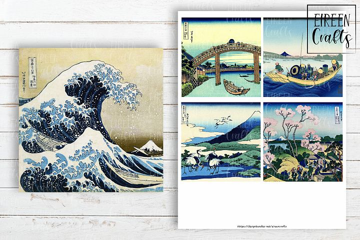 Hokusai 4x4 inch tiles, Coasters Collage Sheet