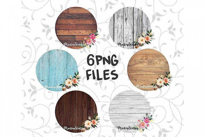Sublimation Wood Background PNG Bundle Circle Frame Clip Art