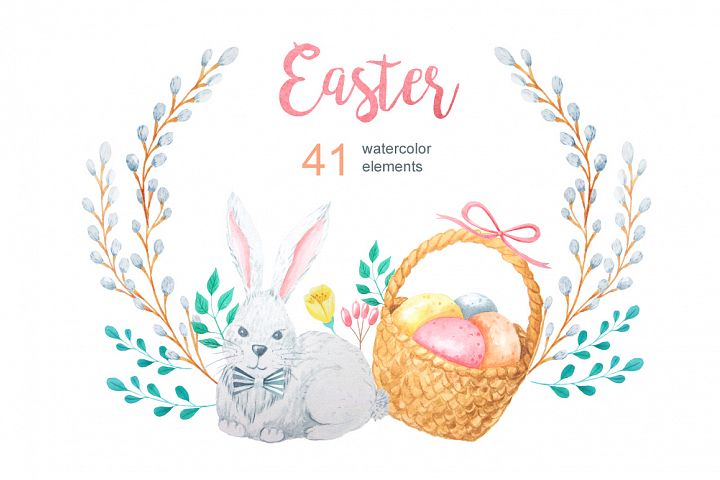 Watercolor Easter Set example 4