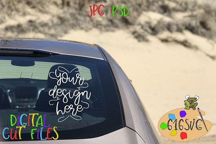 Passengers Side Rear Windshield Mockup with Sand Dunes Scene