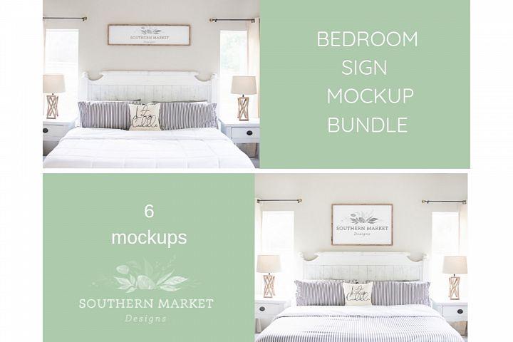 Bedroom Sign Mock Up Design Bundle Stock Photography