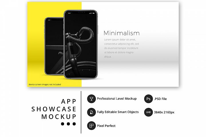 psd mockup with 2 iPhone 11 Pro in bold, minimal display