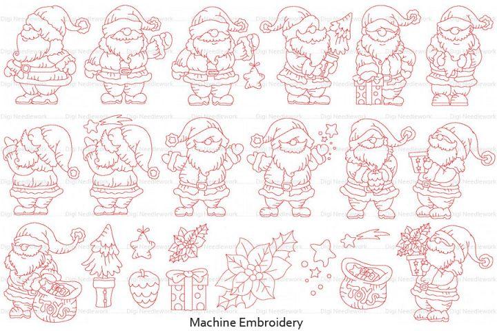 Father Christmas Linework Set 5x5 hoop Machine Embroidery