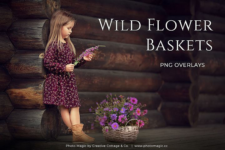 Fantasy Wild Flower Basket Photo Overlays