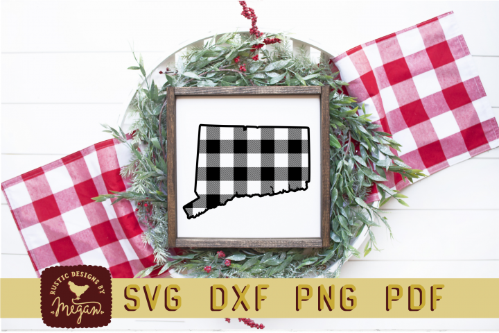 Connecticut Buffalo Plaid State SVG DXF Cut File