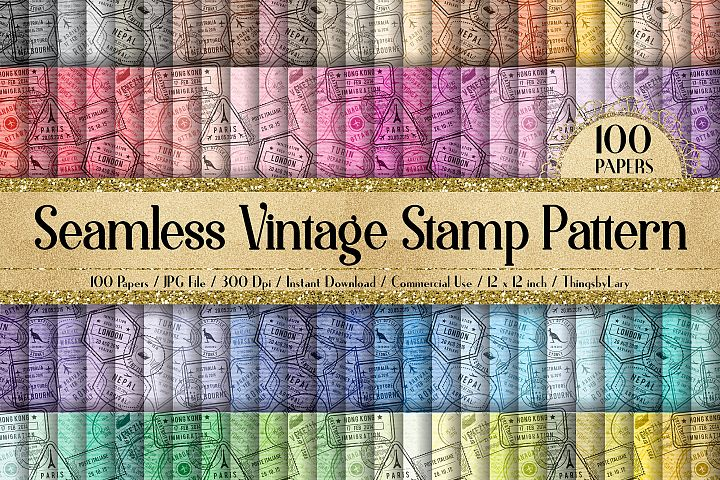 100 Seamless Old Vintage Postage Stamp Pattern Digital Paper