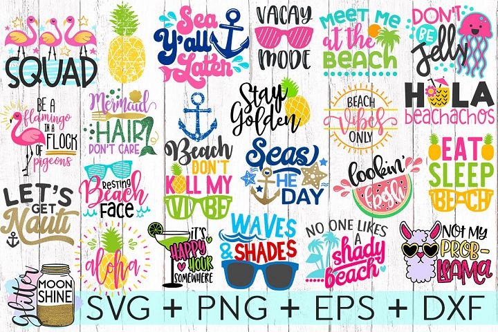Summer Vibes Bundle SVG DXF PNG EPS Cutting Files
