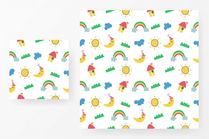 Seamless pattern house, rainbow, cloud, moon and sun