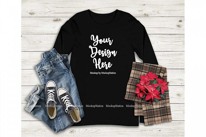 Bella Canvas 3501 Black Christmas Long Sleeve Shirt Mockup