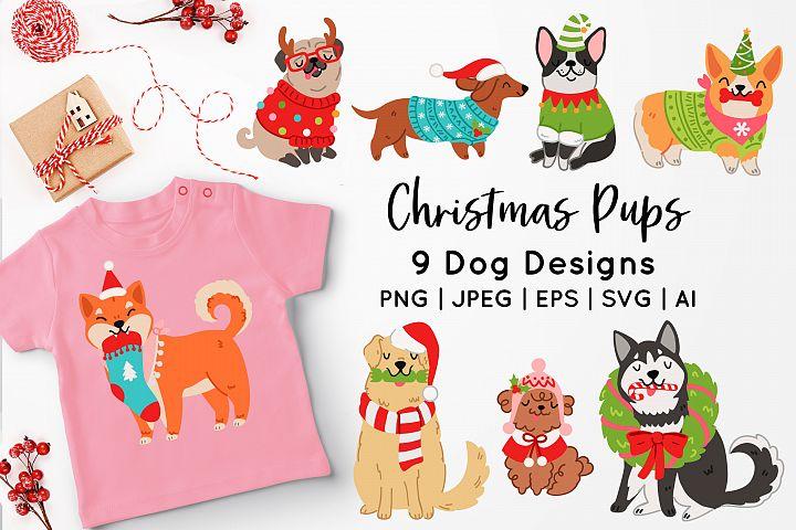Christmas Dogs Vector Art
