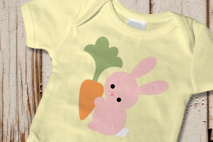 Easter Bunny Holding Carrot SVG File Cutting Template