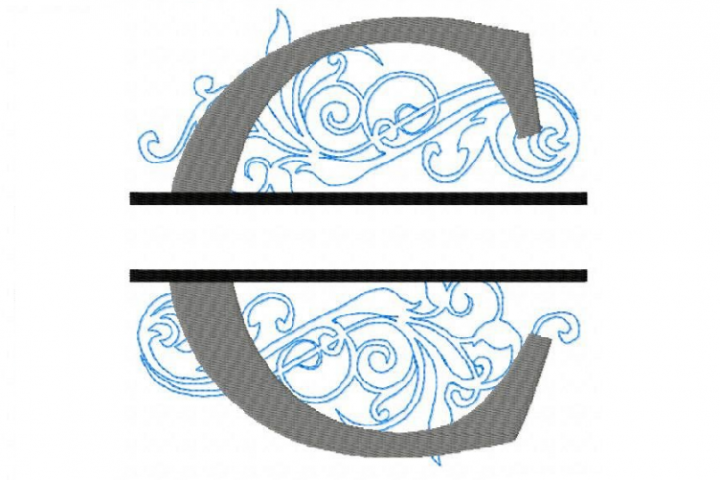 Embroidery Fonts Split Monogram, Monogram C, 4X4 5X7 6x10