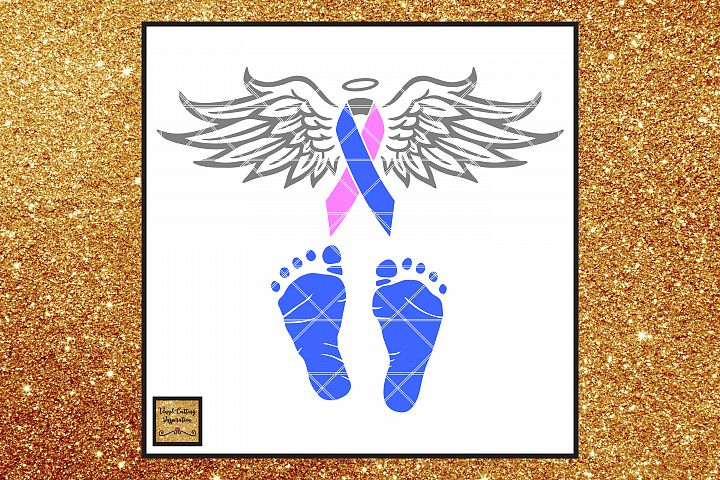 Pregnancy, Infant & Child Loss Awareness Ribbon Angel SVG