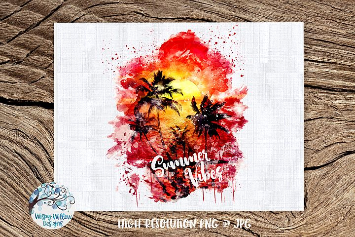 Watercolor Summer Vibes Sunset | PNG and JPG | Sublimation