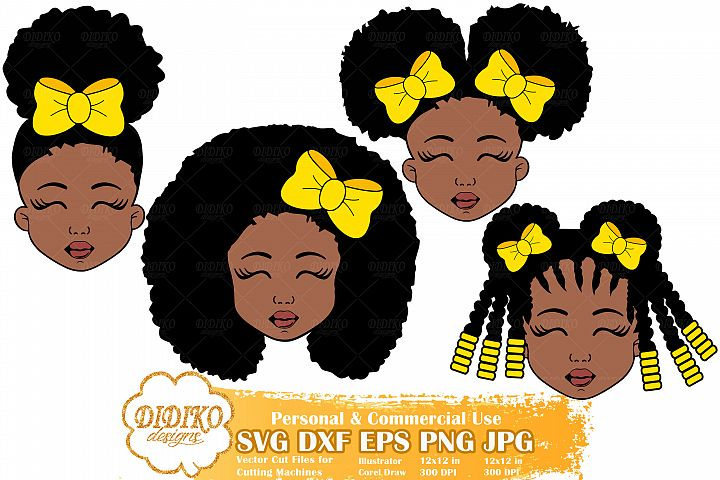 Black Girl Bundle SVG, Afro Girl with Bow Svg, Afro Puff Svg