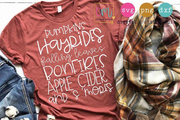 Pumpkins Hayrides Falling Leaves Bonfires Apple Cider Smores