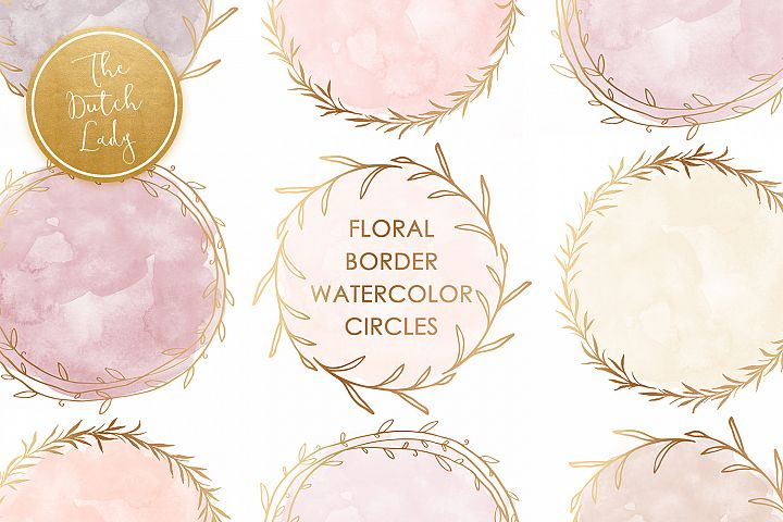 Watercolor Circle & Floral Border Clipart Set