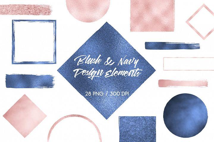 Blush & Navy Blue Design Elements
