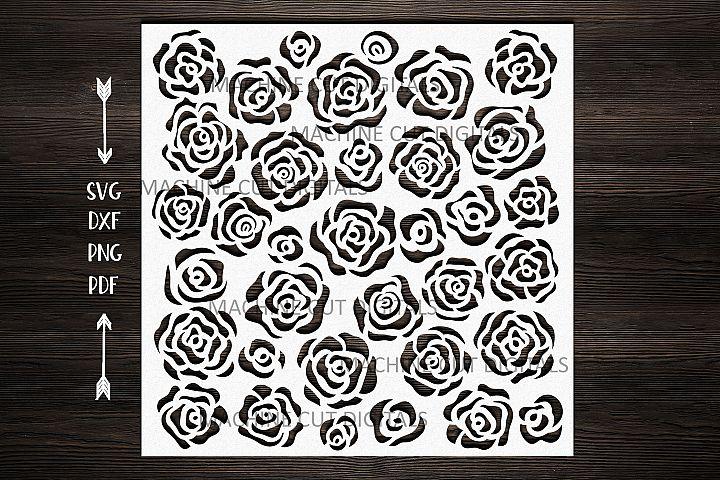 Floral roses square pattern stencil svg dxf laser cut file