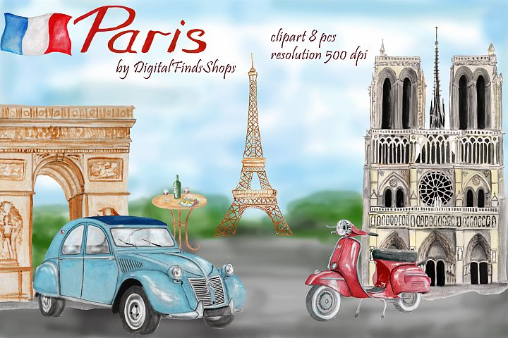 Paris clipart, Notre Dame, scooter clipart, eiffel tower