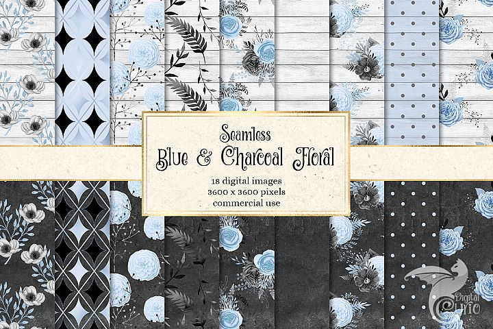 Blue and Charcoal Floral Digital Paper