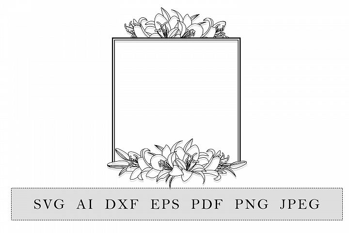 Floral Square frame with lilies flowers