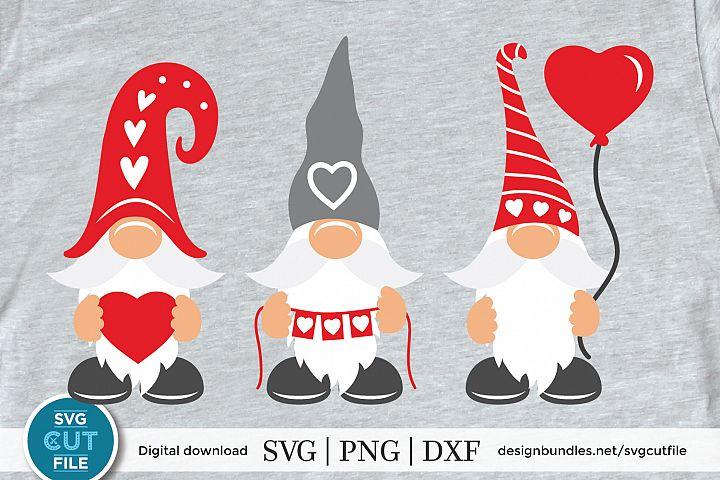 Valentine Gnomes Svg, Valentines Day Svg, three gnomes svg
