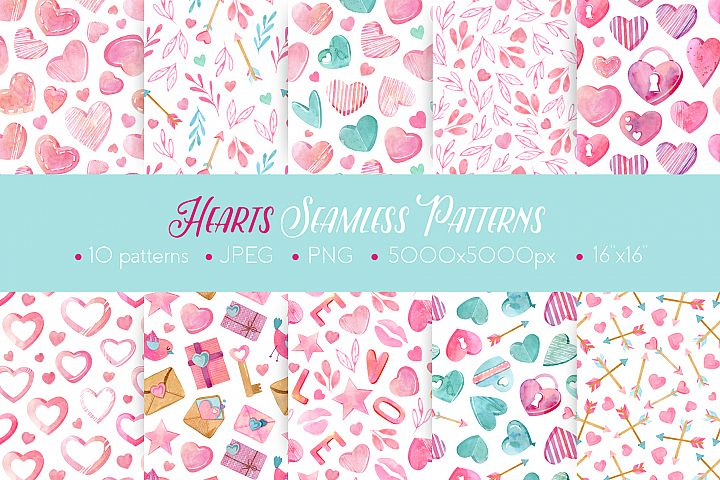Watercolor Hearts Seamless Patterns
