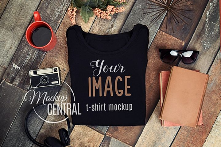 Unisex Blank Black T-Shirt Styled Apparel Shirt Mockup JPG