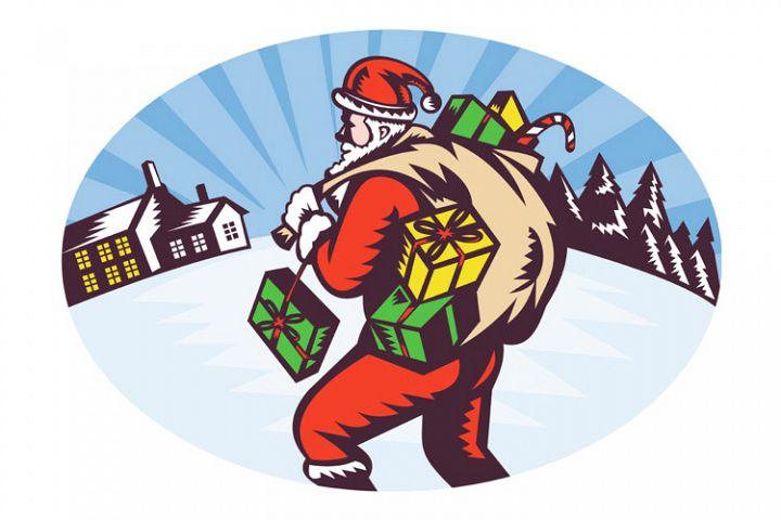 santa claus bag presents winter snow house