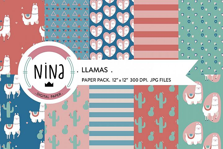 Llama Digital Paper Pack, Boho digital, scrapbook paper