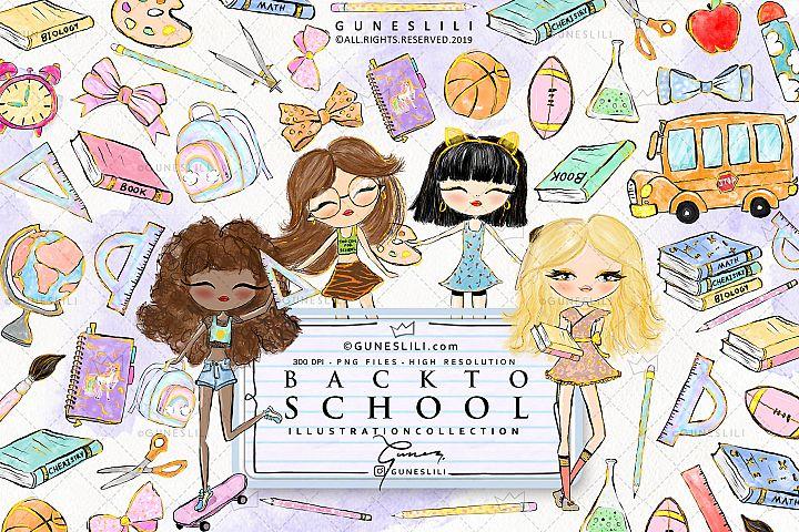 Back to School Clipart kit GunesLili