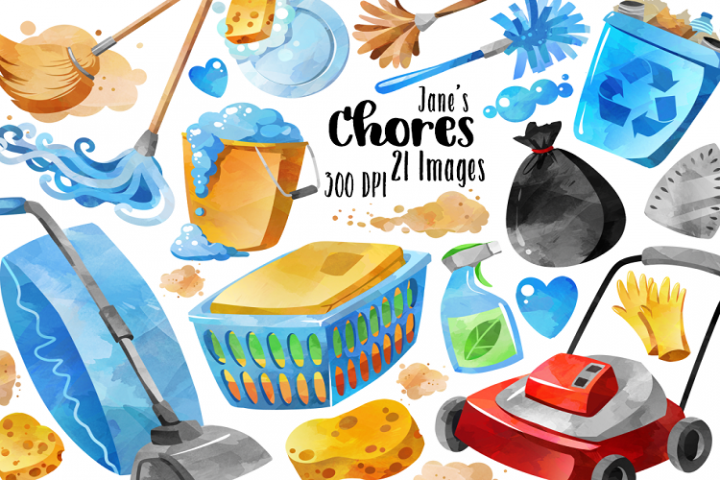 Watercolor Chores Clipart