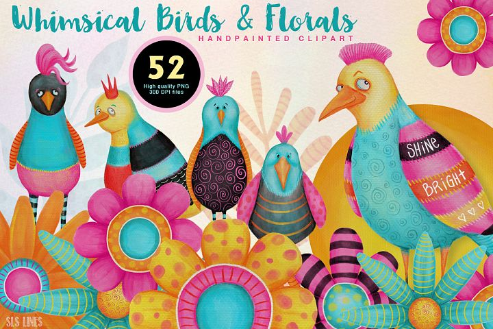 Colorful Whimsical Birds & Flowers