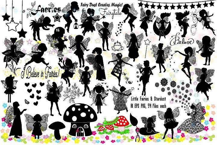 Little Fairies Silhouettes & Stardust AI EPS PNG