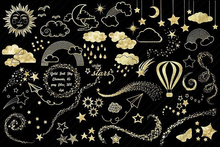 Gold Foil Sky Elements...Stars, Moons, Clouds, Etc. Clip Art