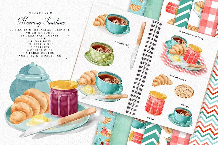 Breakfast Coffee and pastries graphic set and pattern papers