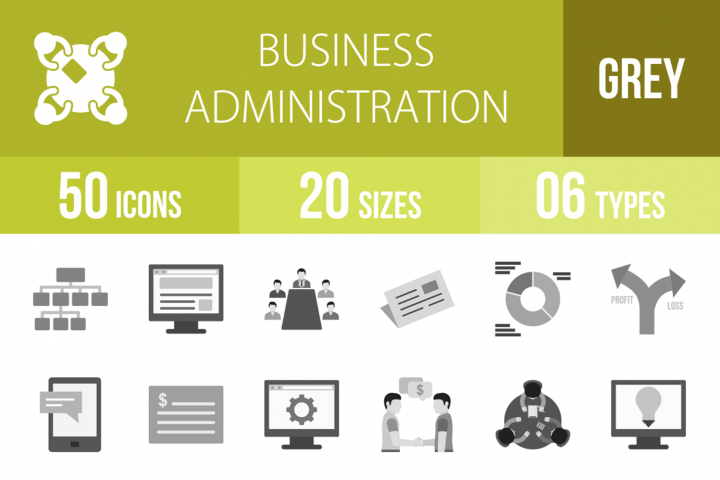 50 Business Administration Greyscale Icons