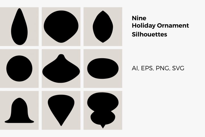 Nine Holiday Ornament Silhouettes - SVG, PNG, EPS, AI