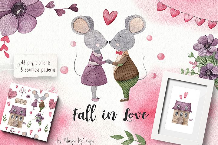 Fall in love - Watercolor set