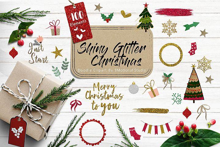 Shiny Glitter Christmas Doodle Clipart