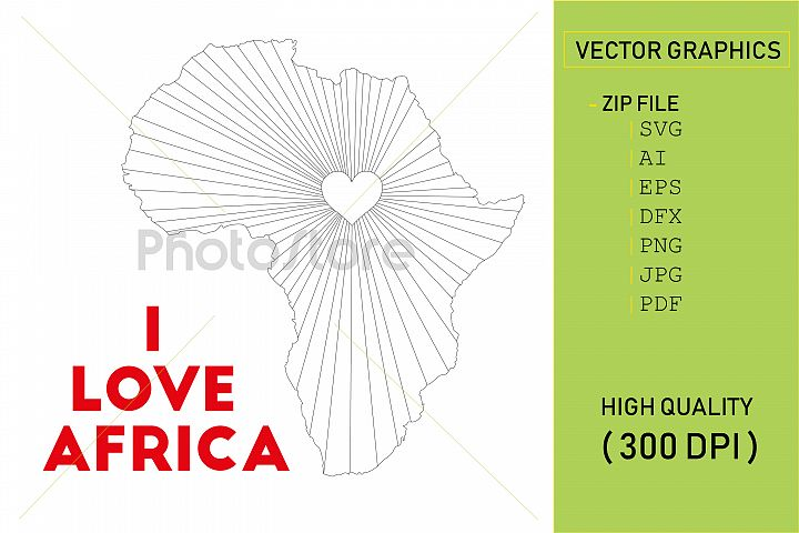 I love Africa country map silhouette